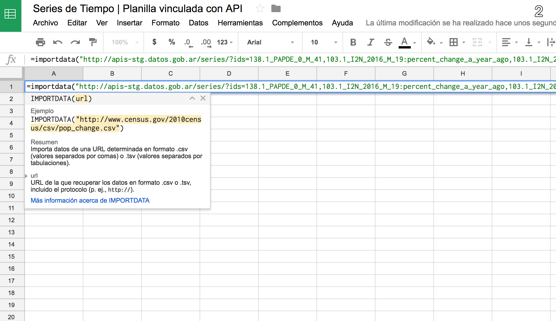 Integrate API in a spreadsheet - Time Series API